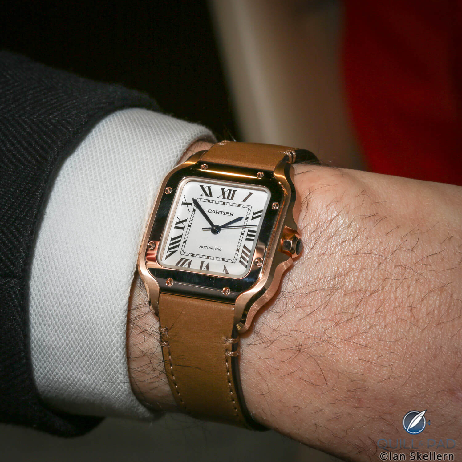 Santos de Cartier in pink gold on the wrist