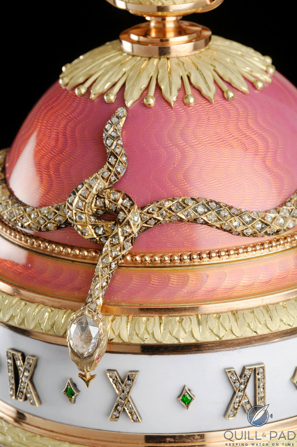 The diamond-set head of the serpent indicates the hours on the Yusupov Fabergé Egg