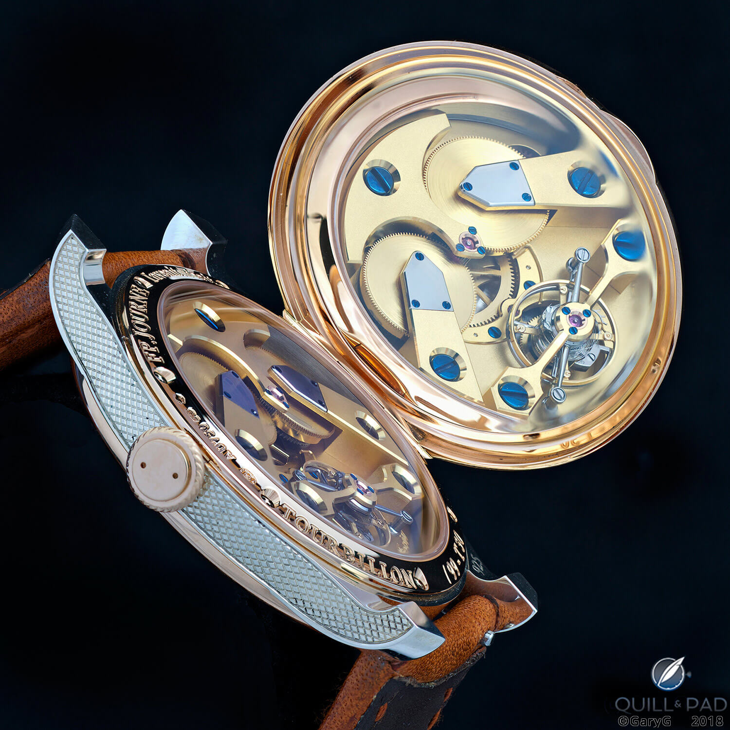 Case back and movement, F.P. Journe Anniversary Tourbillon T30