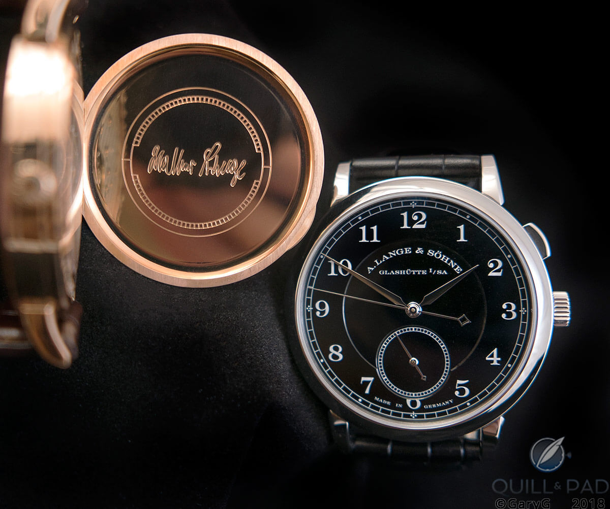 """Homage to Walter Lange unique piece (at right) and 1815 """"Walter Lange"""" in pink gold"""