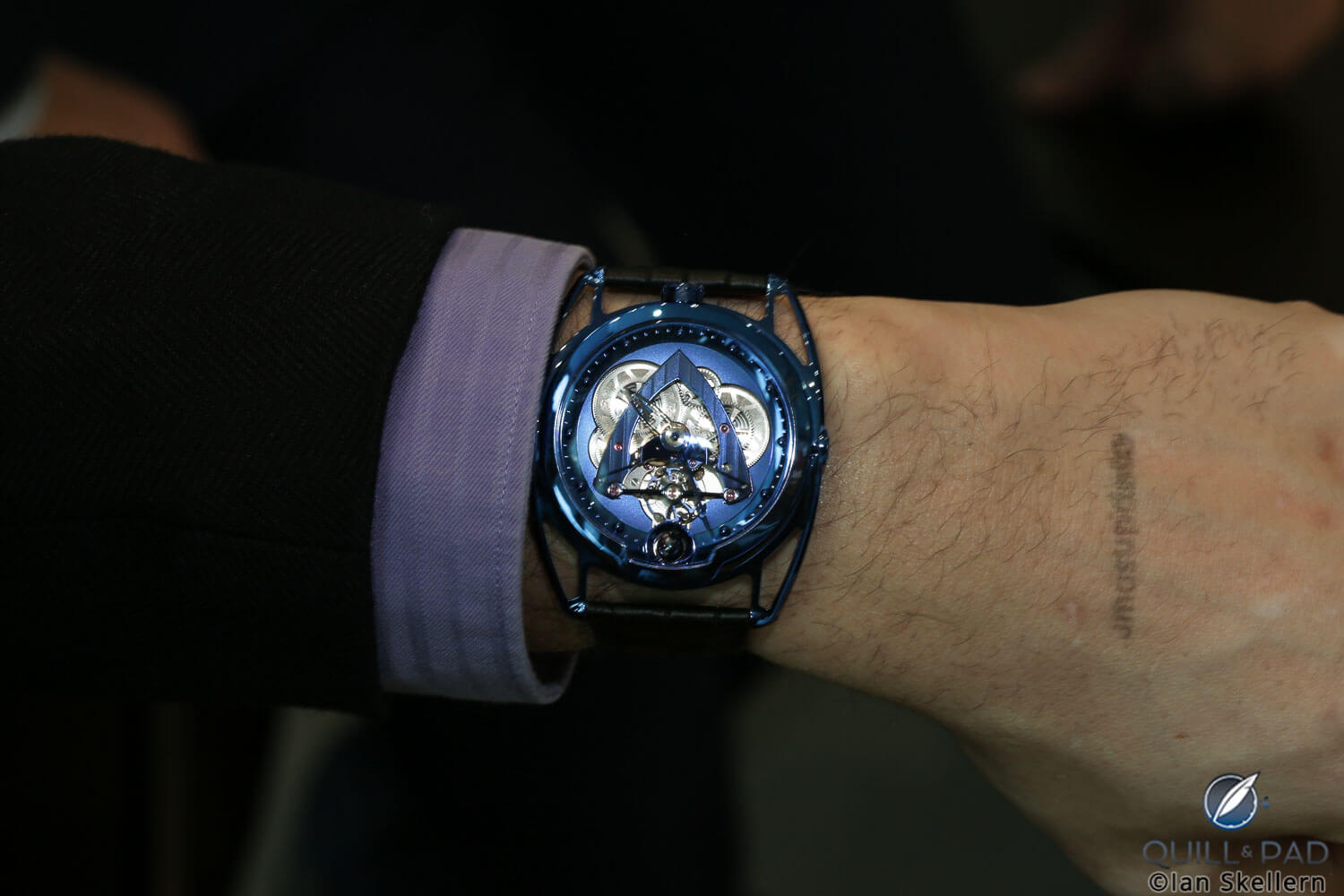 De Bethune DB28 Steel Wheels Blue wristshot