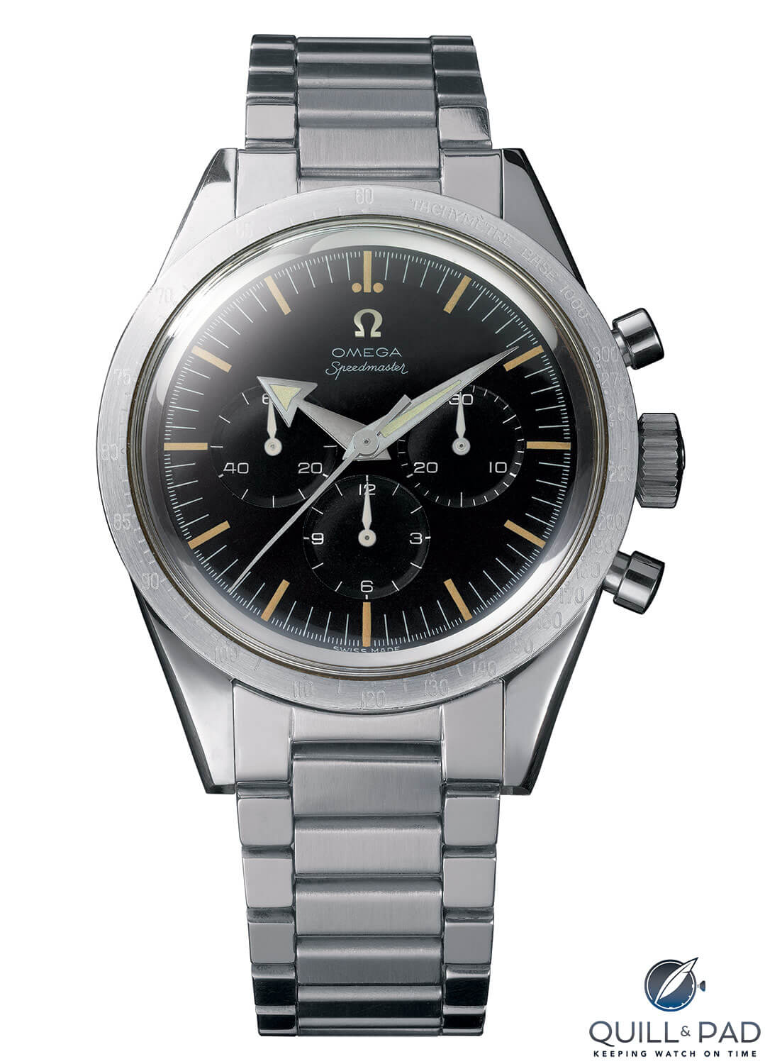 1957 Omega Broad arrow chronograph is powered by a featuring Caliber 321 movement
