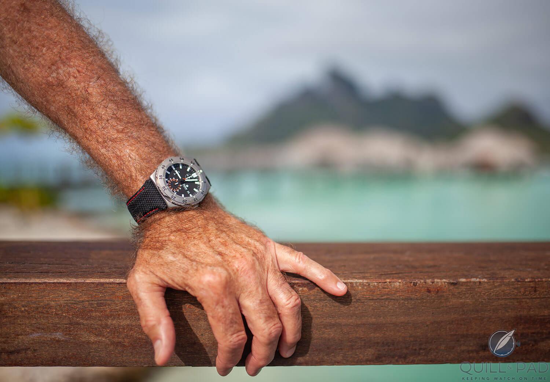 Tutima M2 on the author's wrist in Bora Bora