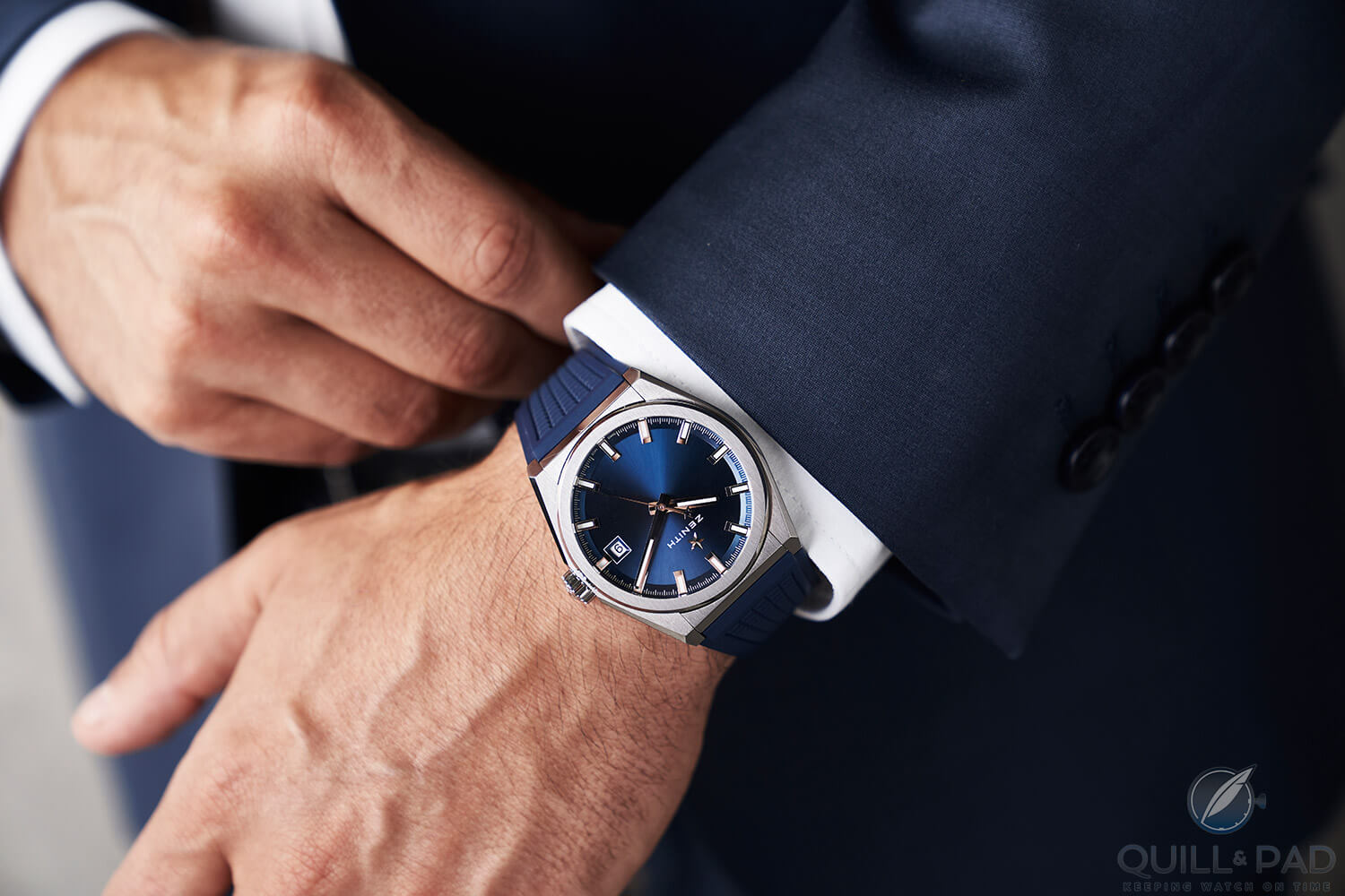 Zenith Classic Defy with blue dial on the wrist