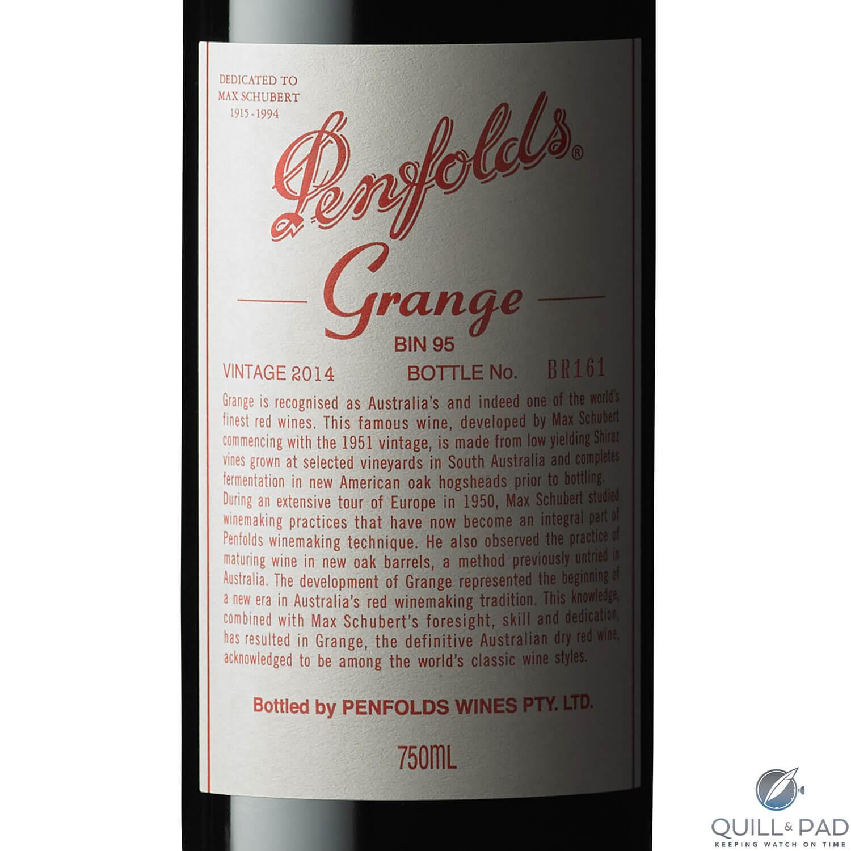 Penfolds Grange 2014 label