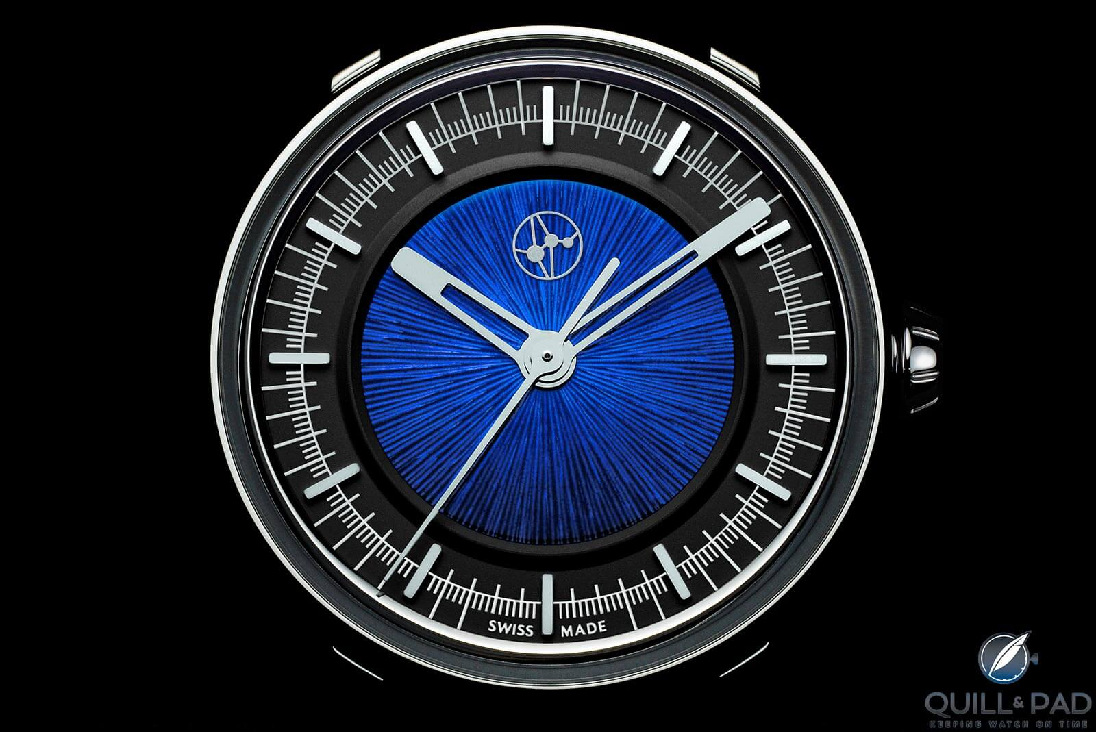 Lundis Bleus Ref. 1110 with blue enamel over radially- lined dial
