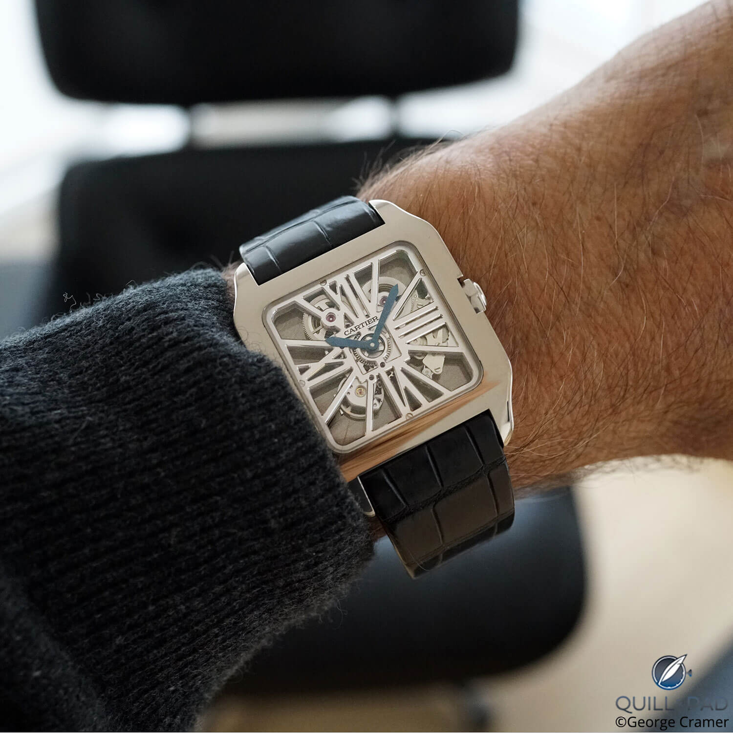 Cartier Santos-Dumont-Squelette on the wrist