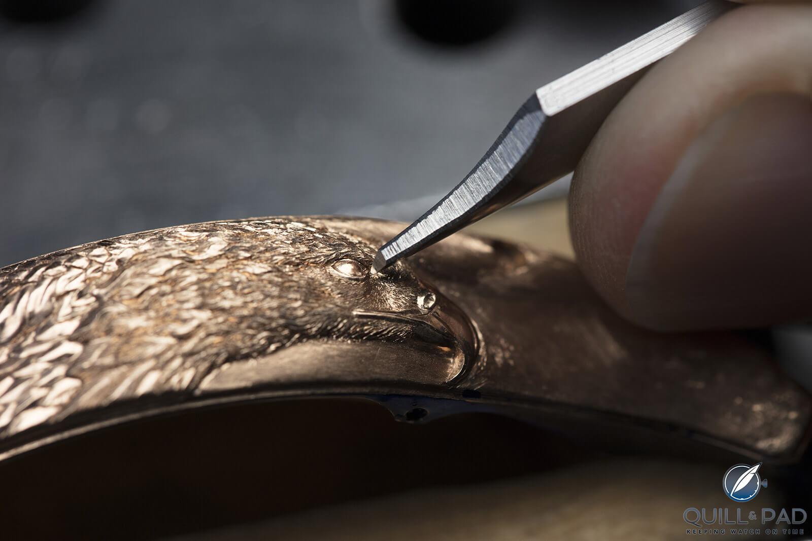 Engraving an eagle's head into the caseband of a Vacheron Constantin Les Cabinotiers Mécaniques unique piece