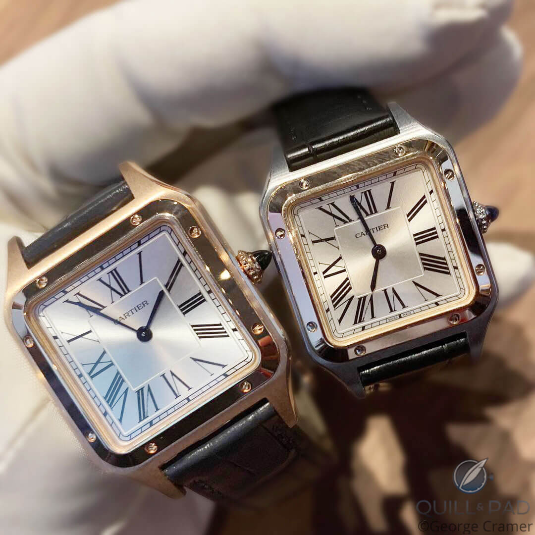 A pair of large Cartier Santos-Dumonts