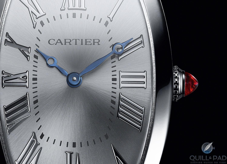 Cartier Tonneau dial and cabochon crown