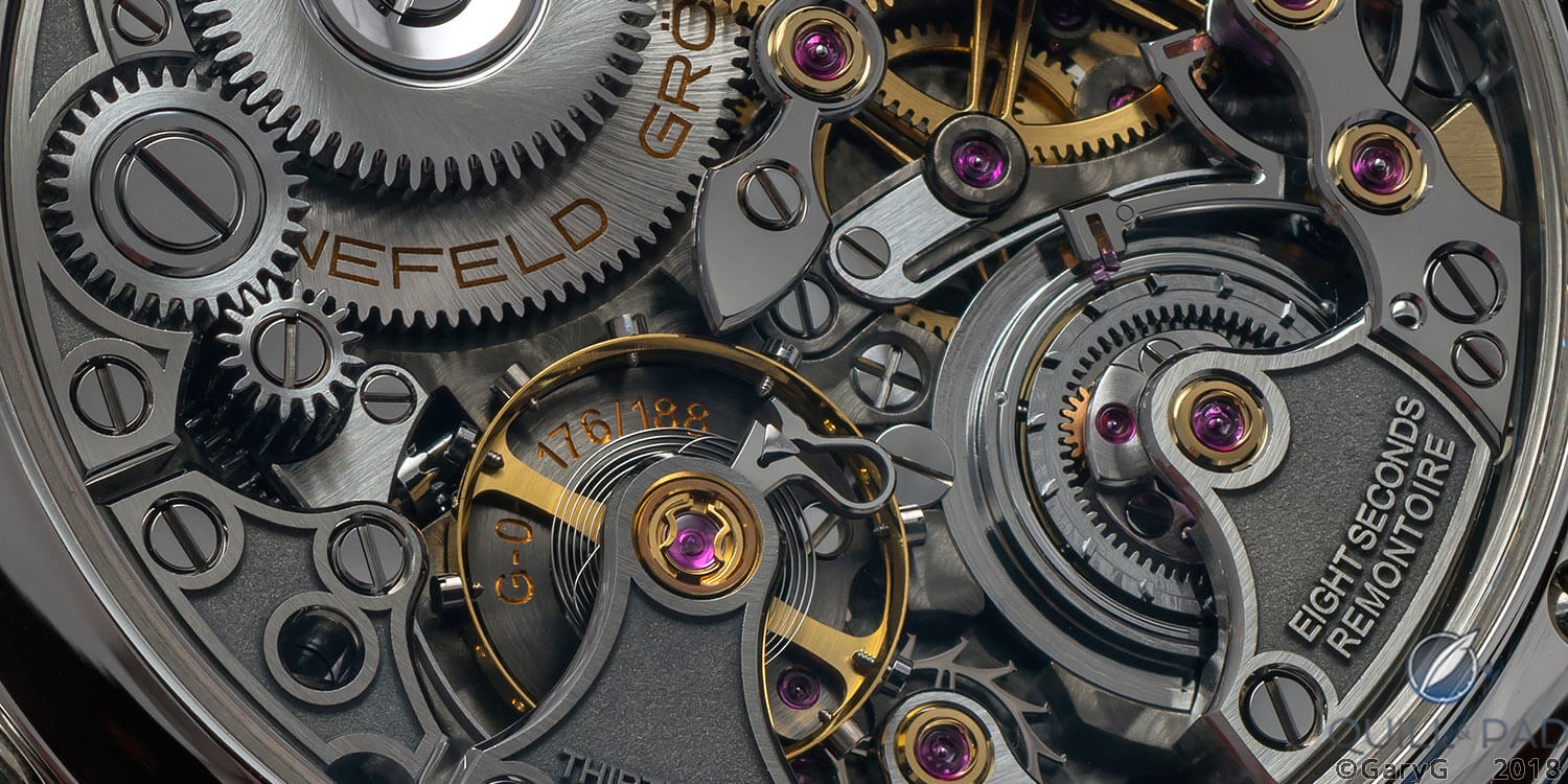 Movement detail, Grönefeld 1941 Remontoire with constant force mechanism at right