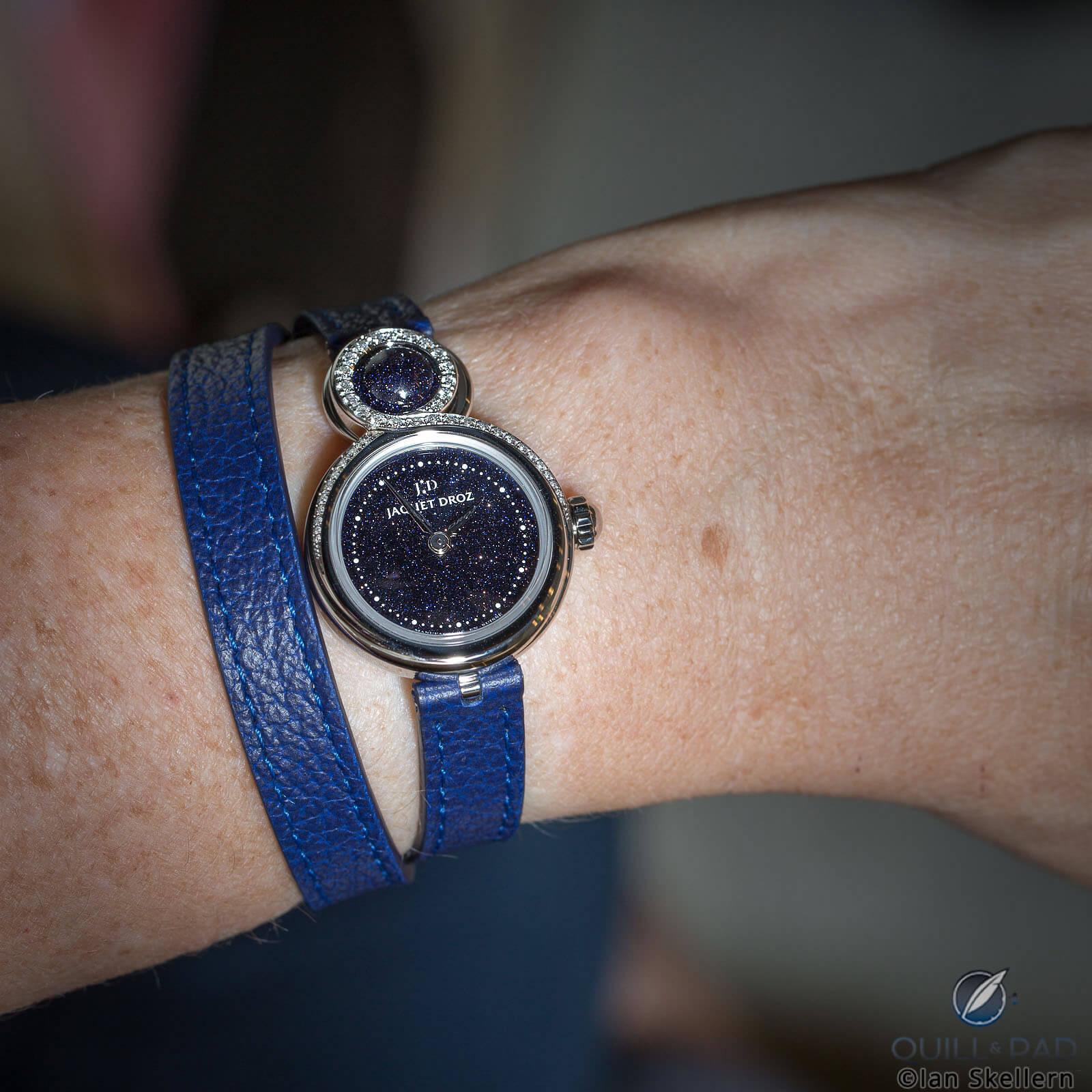 Jaquet Droz Lady 8 Petite Aventurine on the wrist
