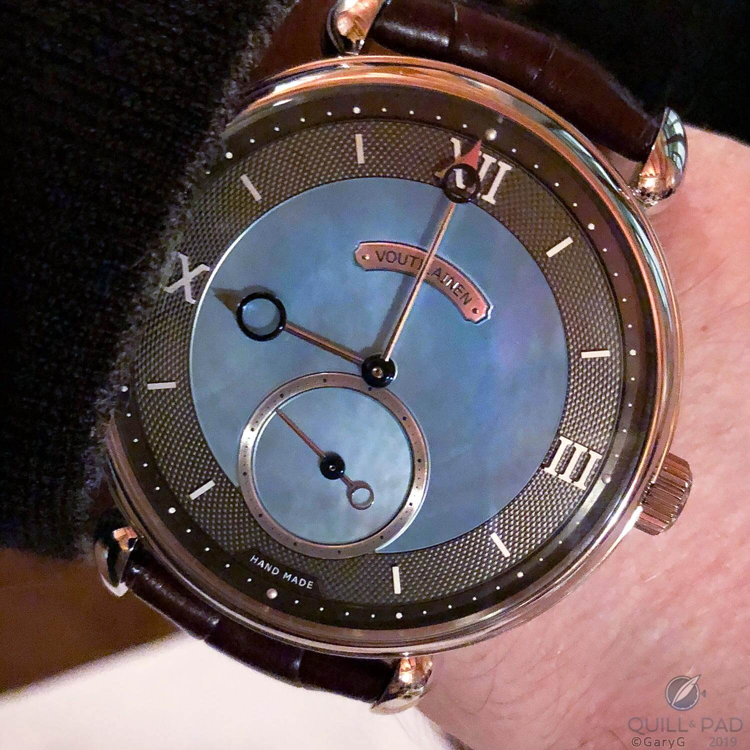 Statement piece: 44mm Voutilainen Vingt-8 in platinum with mother-of-pearl dial