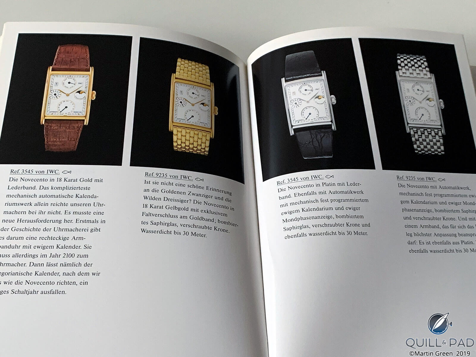 The Novecento collection in the 1989 IWC catalog