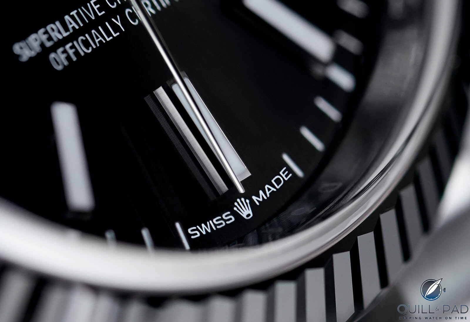 'Swiss Made' dial detail on the Rolex Datejust 36 Reference 126234